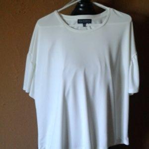 Eloquii ,white silky,short sleeve blouse
